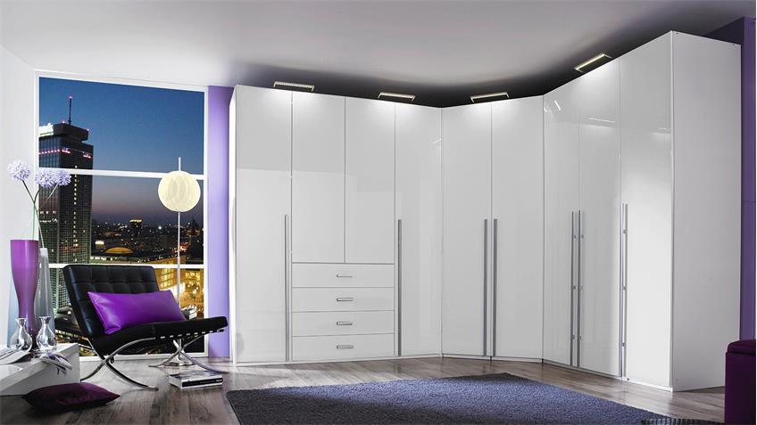 Kleiderschrank ELAN Schrank in weiß Hochglanz 181 cm