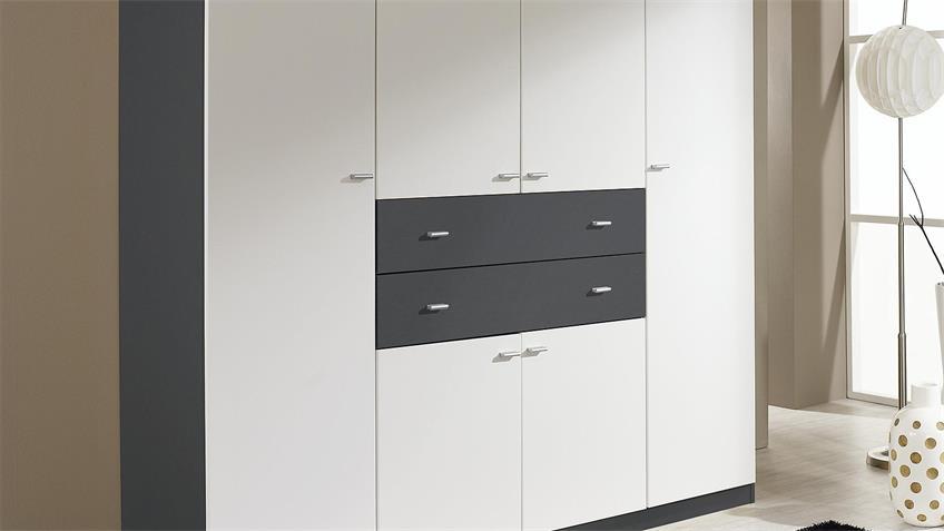 Kleiderschrank LANDSBERG Schrank weiß und grau metallic