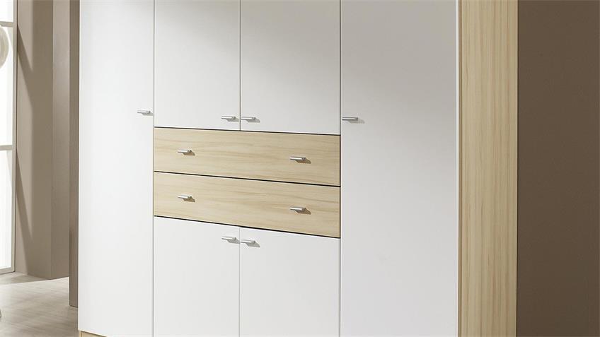 Kleiderschrank LANDSBERG Schrank in weiß und Buche natur 181 cm