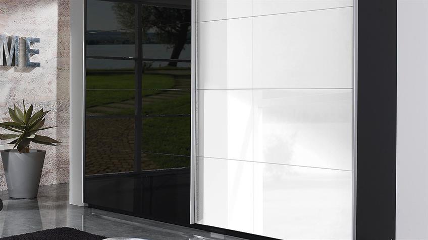 Schwebetürenschrank BELUGA schwarz weiß Hochglanz 270x223