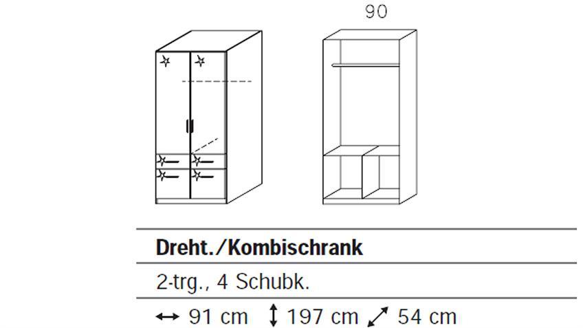 Kleiderschrank I CELLE weiß Hochglanz 91 cm breit