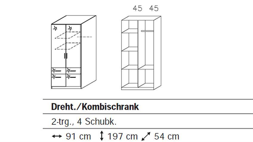 Kleiderschrank II CELLE Weiß Hochglanz 91 cm
