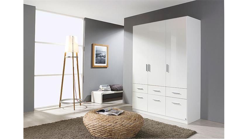 Kleiderschrank CELLE Weiß Hochglanz 136 cm