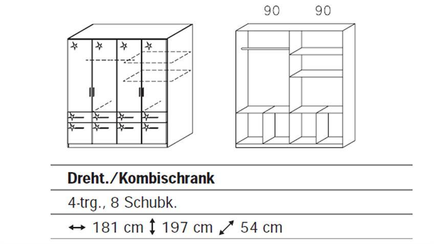 Kleiderschrank CELLE Weiß Hochglanz 181 cm