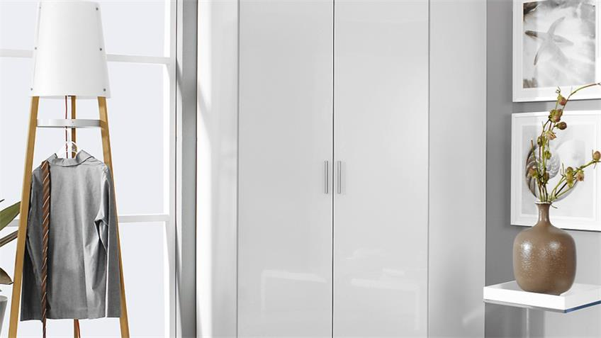 Eckschrank 3126 CELLE Schrank in weiß Hochglanz 117x117