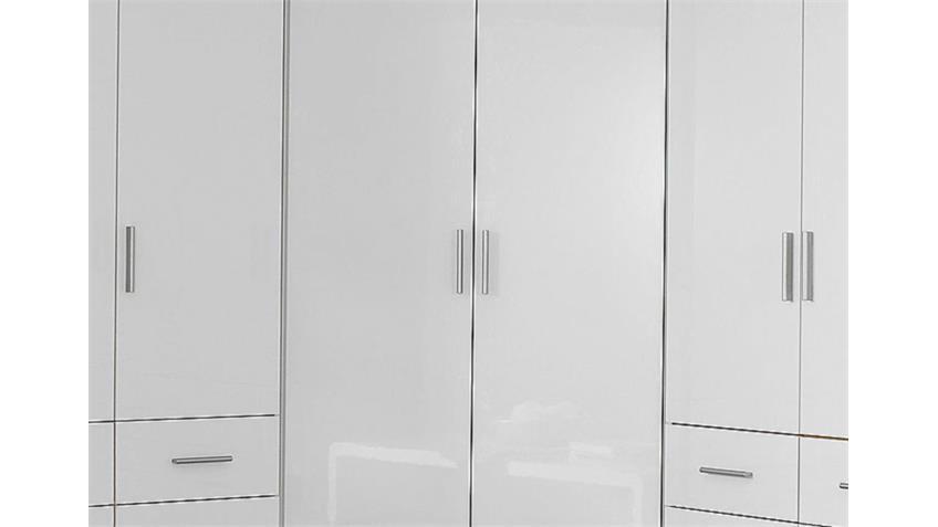 Eckschrank CELLE Kleiderschrank in weiß hochglanz 117 cm