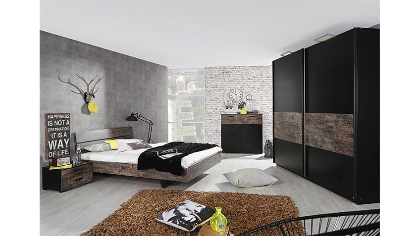 Bett SUMATRA Schlafzimmerbett in Vintage braun 140 cm