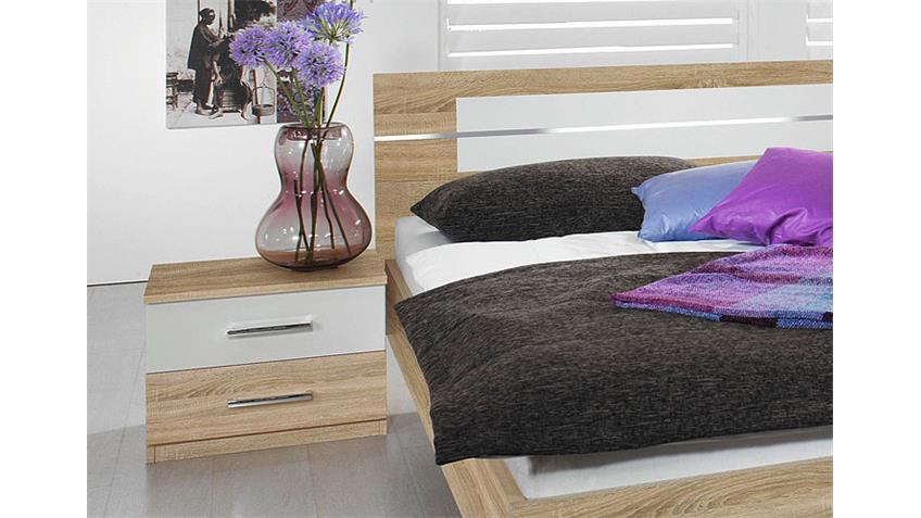 Bettanlage BURANO Bett in Sonoma Eiche und weiß 180x200