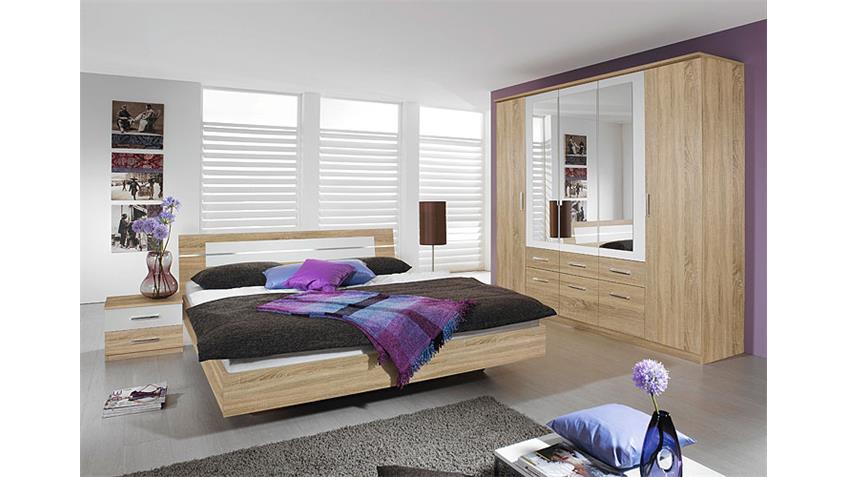 Schlafzimmer-Set BURANO in Sonoma Eiche und Weiß 4-teilig