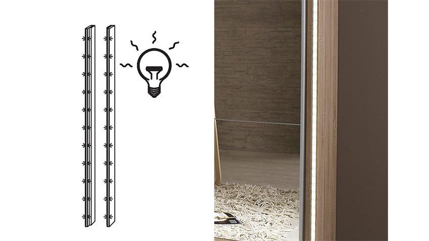 Schwebetürenschrank KIANO Sonoma Eiche Spiegel 270 cm