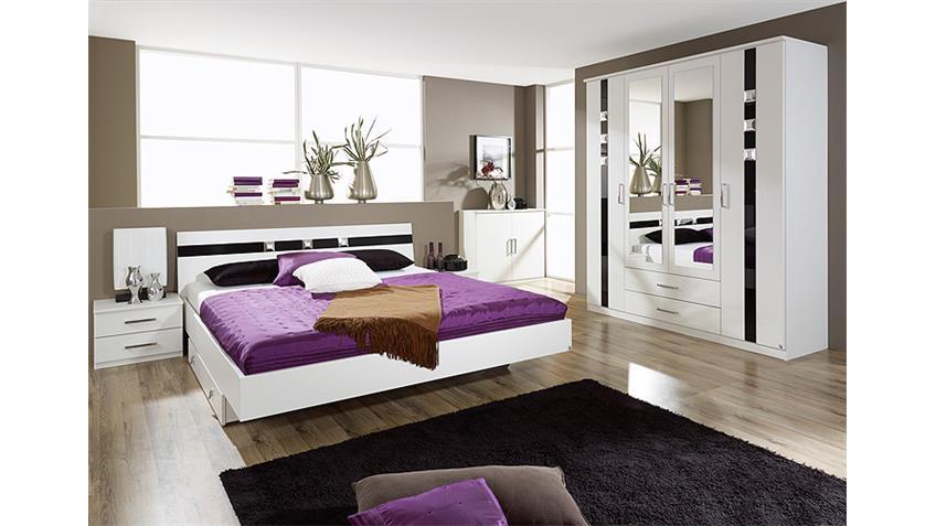 Schlafzimmerset II TOURS Weiß/Schwarzglas/Strass