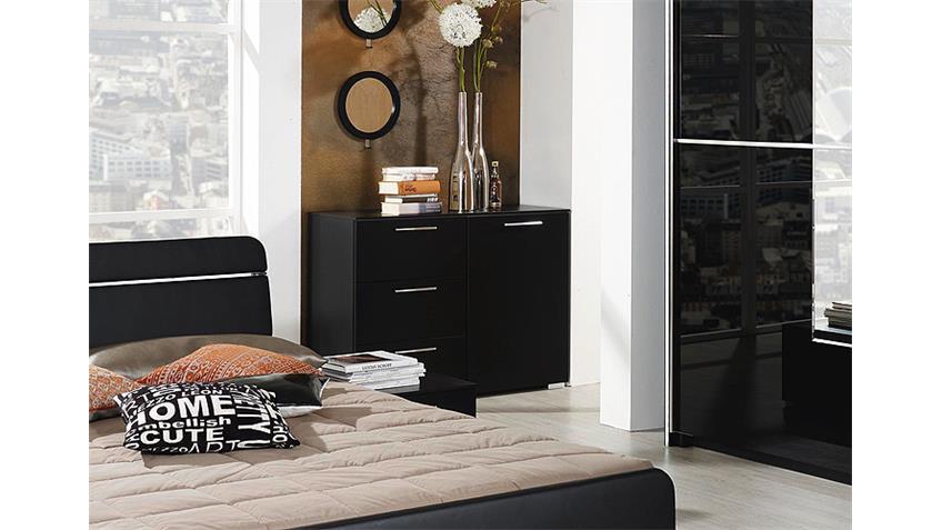 Kommode NALA Sideboard Anrichte in schwarz und Chrom
