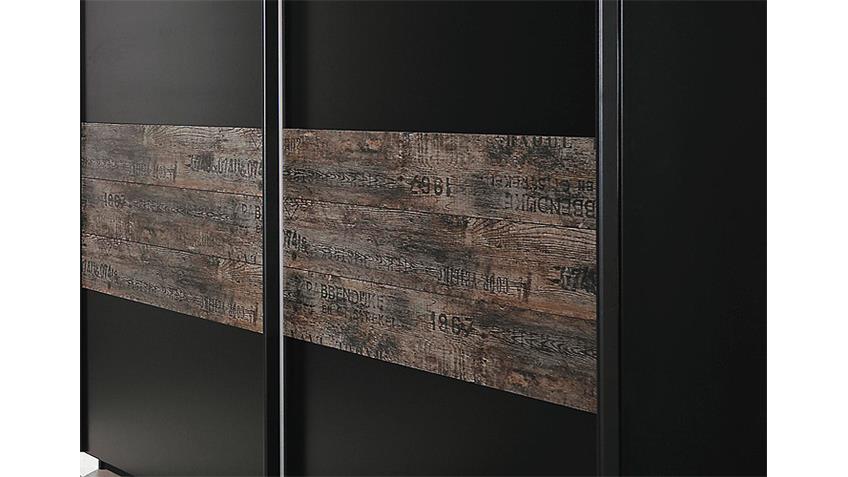 Schwebetürenschrank SUMATRA Schwarz Vintage Braun