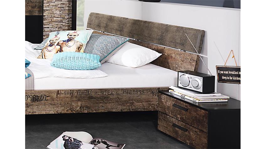 Schlafzimmerset I SUMATRA Schwarz Vintage Braun Spiegel