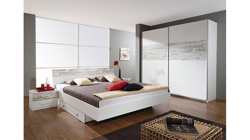 Bettanlage ALMELO Bett Doppelbett in weiß antikweiß 180 cm