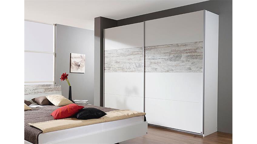 Schwebetürenschrank ALMELO Weiß Antikweiß 226 cm