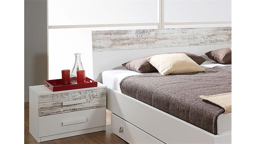 Schlafzimmerset ALMELO Bett Schrank Kommode weiß antikweiß