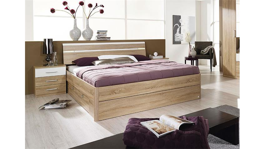 bett rasa sonoma eiche s gerau wei mit beleuchtung 160. Black Bedroom Furniture Sets. Home Design Ideas