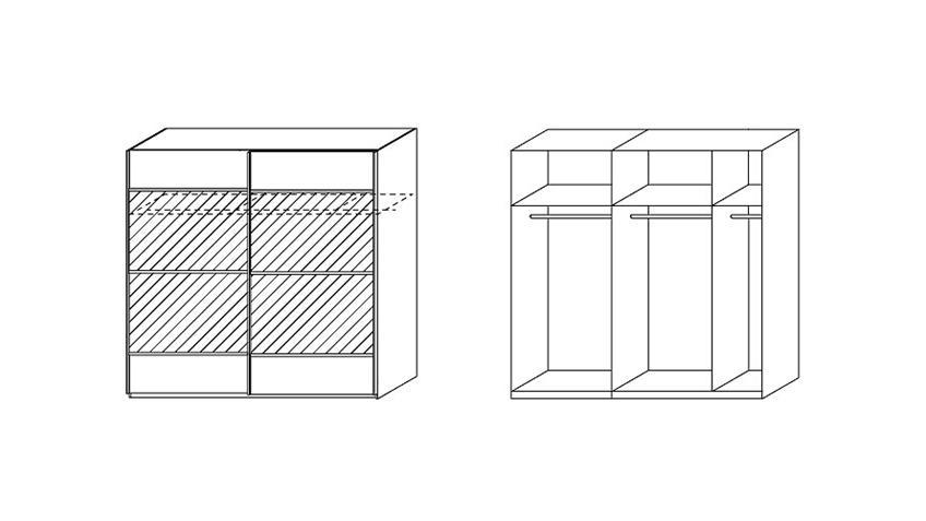 Schwebetürenschrank RASA Sonoma Eiche & Weiß 226 cm