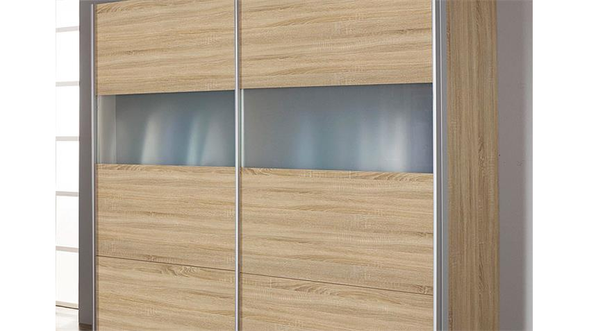 Schwebetürenschrank INGE Sonoma Eiche Milchglas 181 cm