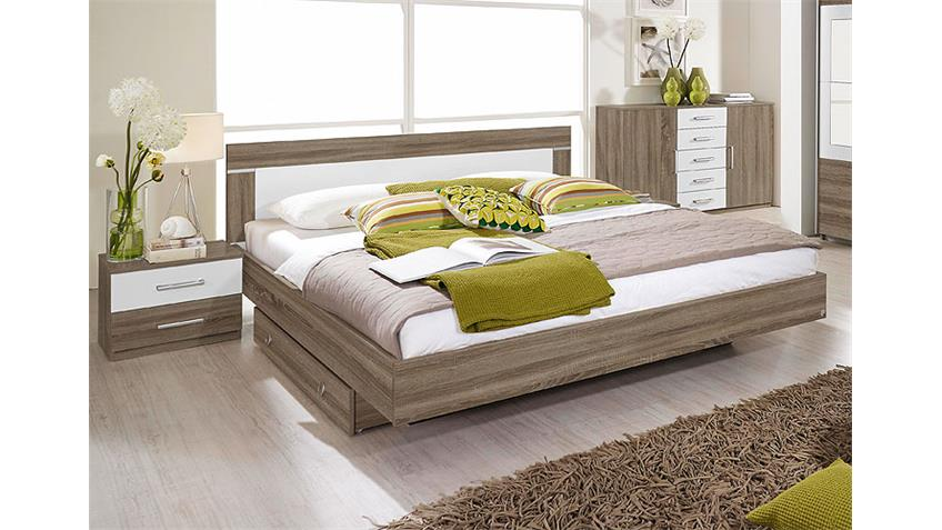 Bettanlage VENLO Doppelbett Bett in Havanna Eiche weiß 180