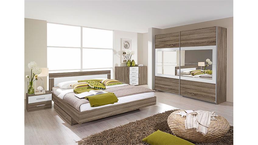 Bettanlage VENLO Bett Doppelbett in Havanna Eiche weiß 160