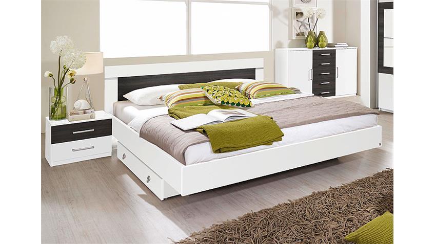 Bettanlage VENLO Bett Doppelbett in weiß Wenge Shiraz 160