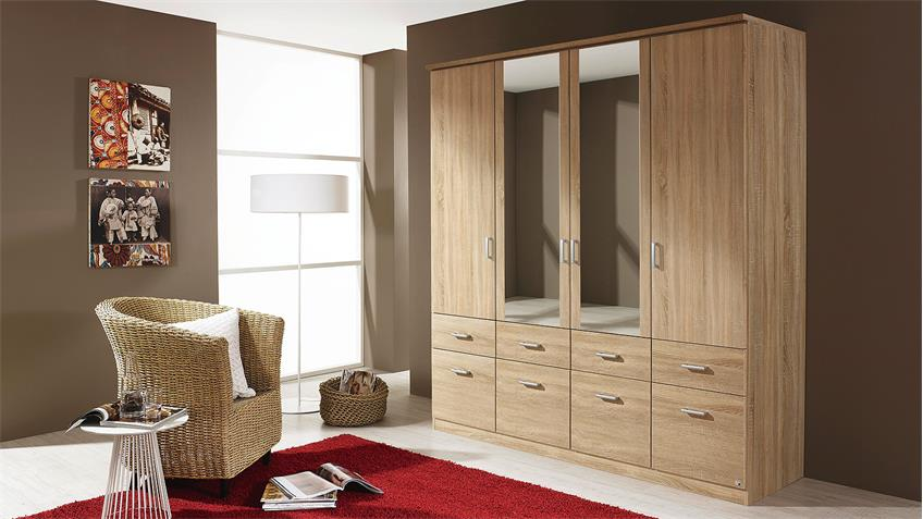 Kleiderschrank BREMEN Schrank Sonoma Eiche mit Spiegel 181