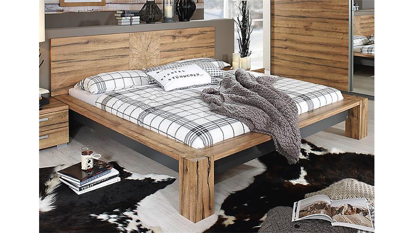 Bett DAVOS Schlafzimmerbett in Wildeiche und Graphit 180x200