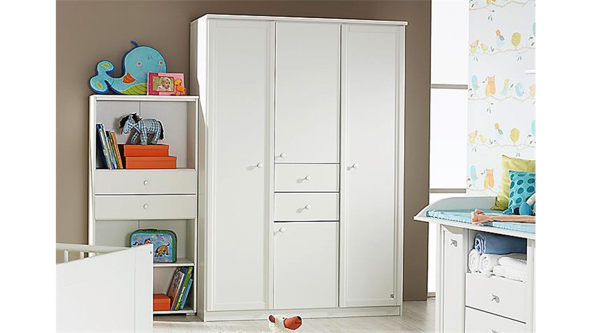 Kleiderschrank LENI Schrank Drehtürenschrank in weiß 136 cm