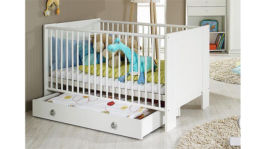 Babybett LENI Weiß inkl. Rollrost 70x140 cm