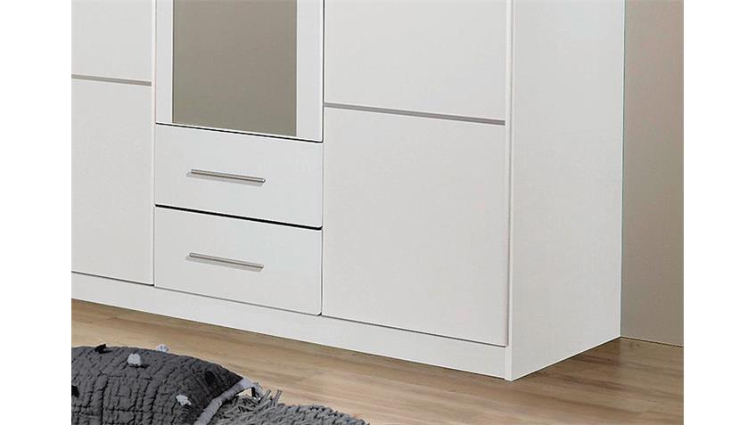 Kleiderschrank MICRO Weiß inkl. Spiegel - 136 cm