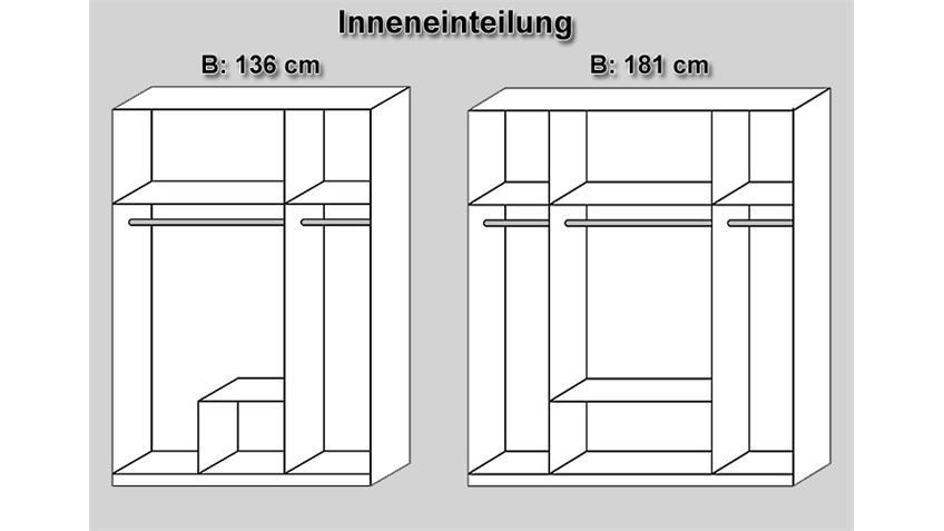 Kleiderschrank MICRO Weiß/ Sonoma Eiche mit Spiegel 136 cm