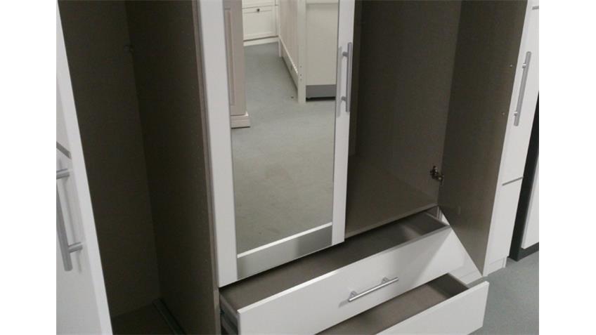 Kleiderschrank Micro Schlafzimmer Schrank 4-türig Alpinweiß mit Spiegel