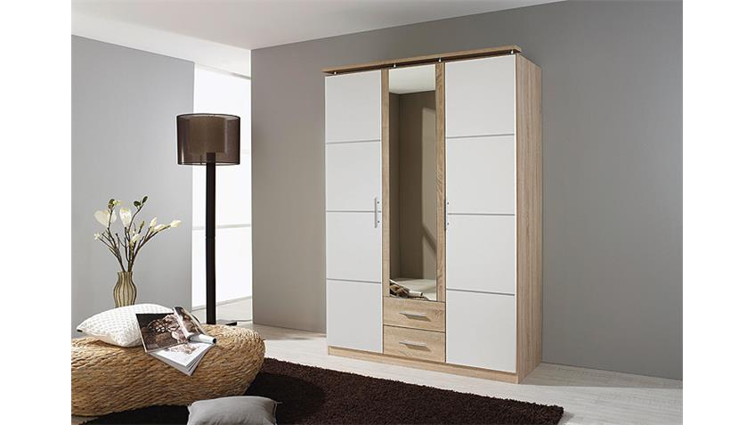 kleiderschrank micro wei sonoma eiche mit spiegel 136 cm. Black Bedroom Furniture Sets. Home Design Ideas