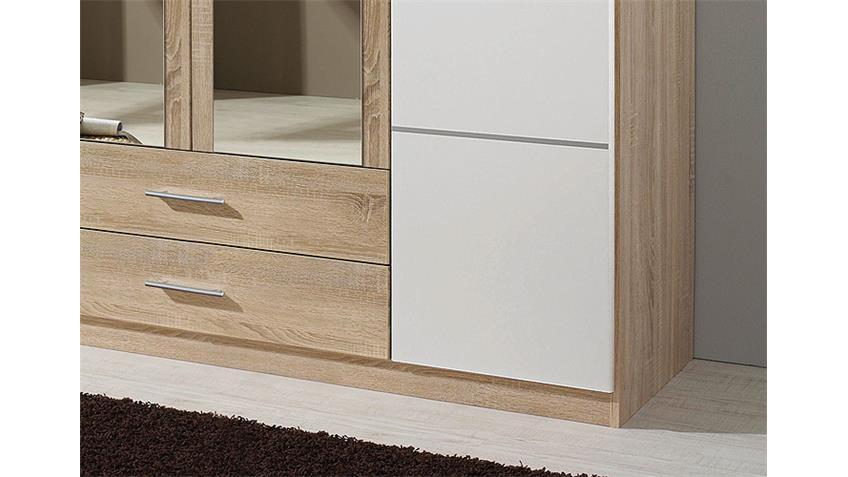 Kleiderschrank MICRO Weiß/ Sonoma Eiche mit Spiegel 181 cm