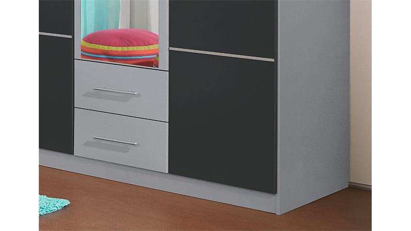 Kleiderschrank MICRO Grau Metallic/ Alu mit Spiegel 136 cm