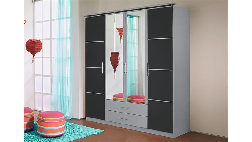 Kleiderschrank MICRO Grau Metallic/ Alu mit Spiegel 181 cm