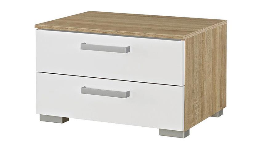Nachttisch 1 CALERO Sonoma Eiche/ Weiß Hochglanz und Alu