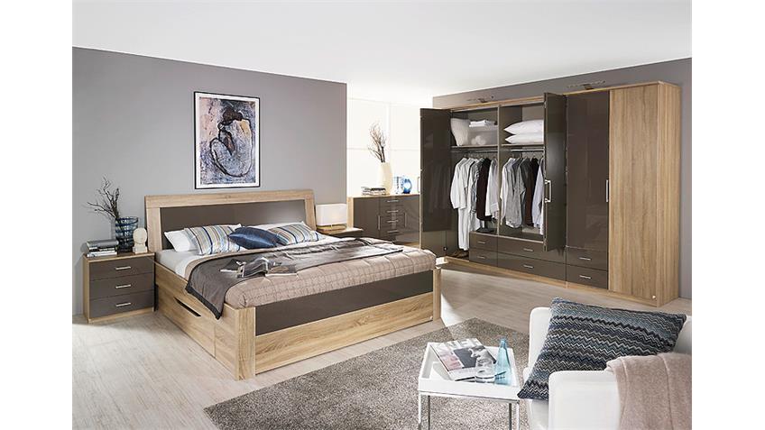 Schlafzimmer Set ARONA Sonoma Eiche und Lava Hochglanz 4 tlg