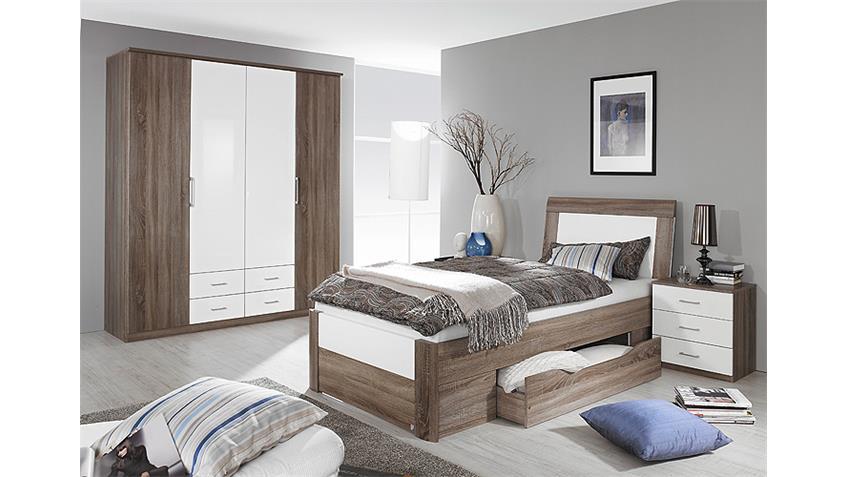 Schlafzimmer Set ARONA Havanna Eiche Weiß Hochglanz 3 tlg