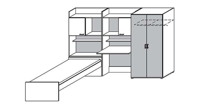 Jugendzimmer Set 1 EMILIO Sonoma Eiche und Weiß 4 tlg