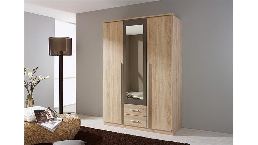 Kleiderschrank KREFELD Sonoma Eiche und Lava mit Spiegel 136
