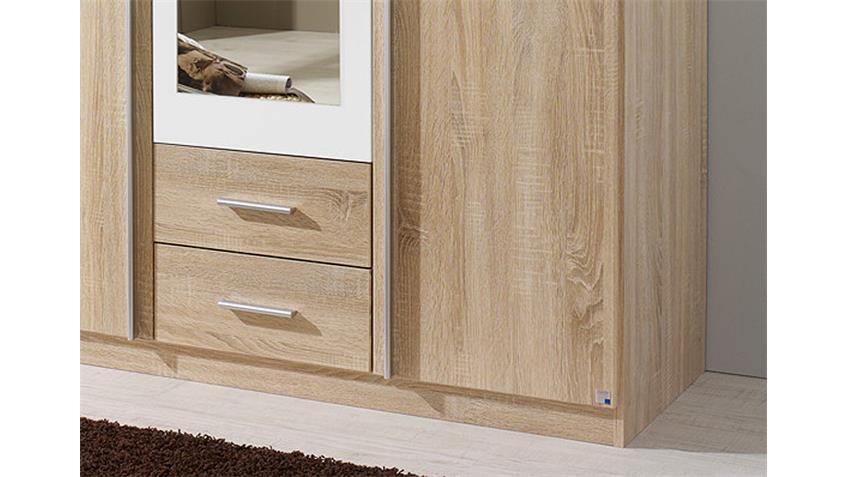 Kleiderschrank KREFELD Sonoma Eiche und Weiß mit Spiegel 136
