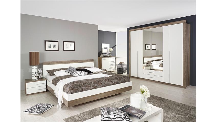 Schlafzimmer Set BURGOS Havanna Eiche und Weiß 4 tlg