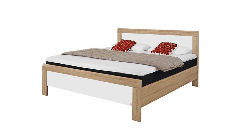Bett UTRECHT Schlafzimmerbett in Sonoma Eiche weiß 180x200
