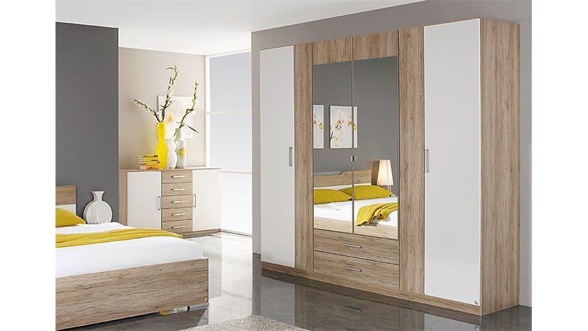 Kleiderschrank CARTAGENA San Remo Eiche weiß Spiegel 226 cm