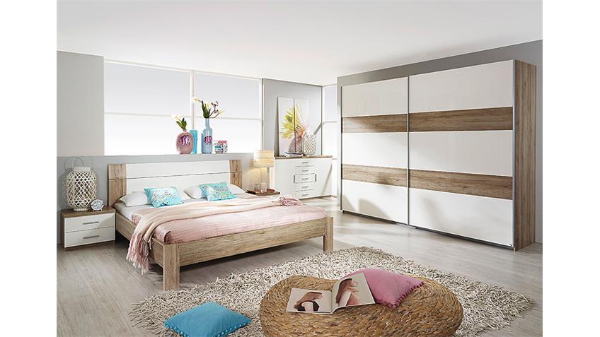 Schlafzimmerset GRANADA Sonoma Eiche hell Weiß Hochglanz