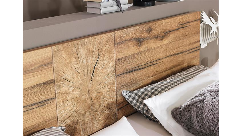 Bett DAVOS Schlafzimmerbett in Wildeiche und weiß 160x200