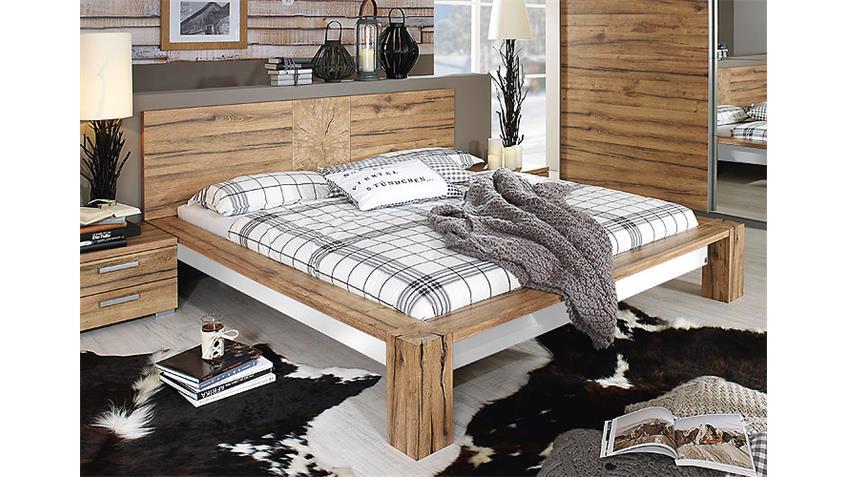 Bett DAVOS Schlafzimmerbett in Wildeiche und weiß 180x200